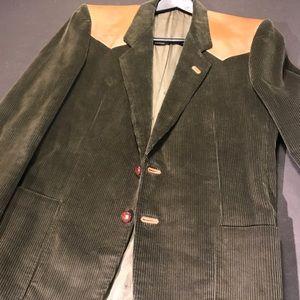 EUC Vintage GUCCI corduroy leather patch blazer